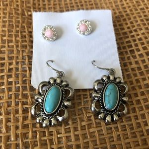 Vintage Jewelry - Turquoise and pink earring bundle